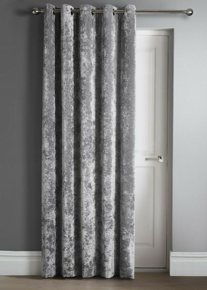 Contemporary Crushed Velvet Ring Top Eyelet One Door Curtain Panel, 46